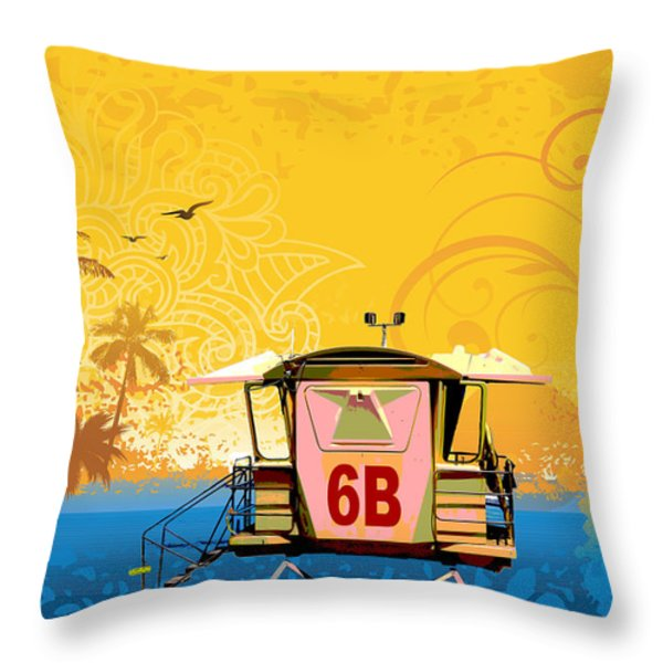 Hawaiian Lifeguard Station Throw Pillow by Paulette B Wright
