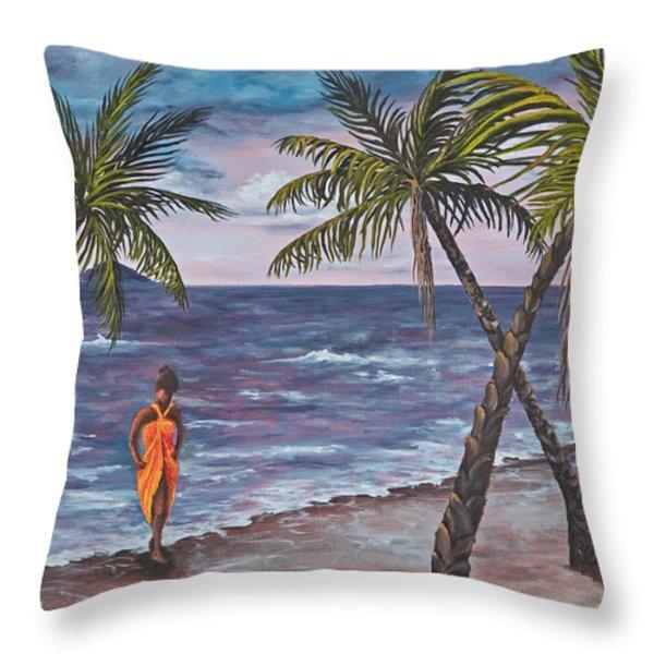 Hawaiian Maiden Throw Pillow by Darice Machel McGuire