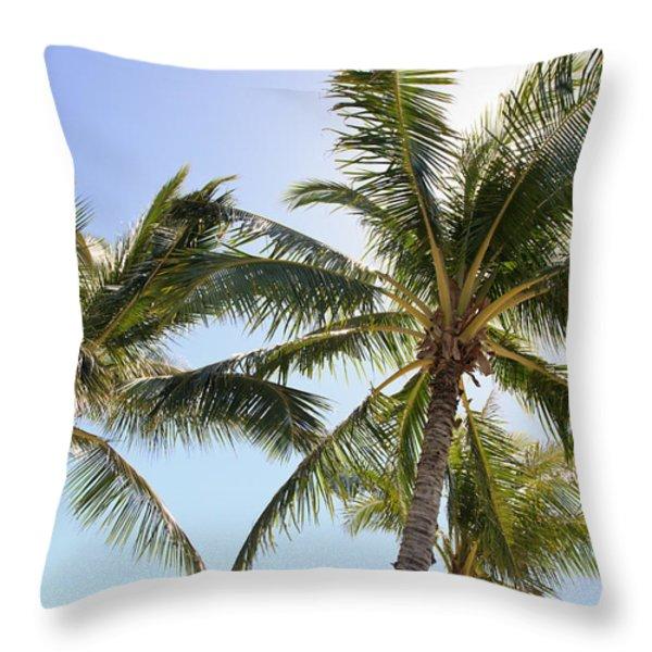 Hawaiian Palm Trees Throw Pillow by Brandon Tabiolo