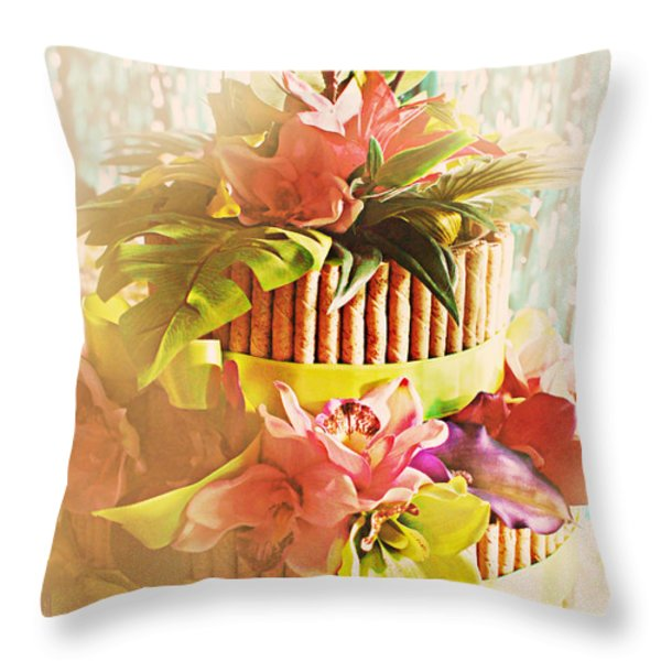 Hawaiian Wedding Cake Throw Pillow by Susan Bordelon
