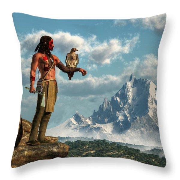 Hawk Warrior Throw Pillow by Daniel Eskridge