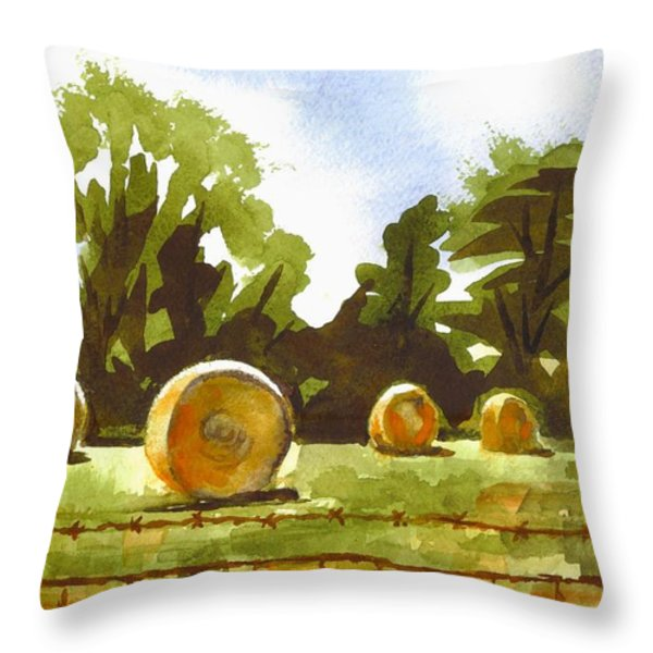 Hay Bales at Noontime  Throw Pillow by Kip DeVore