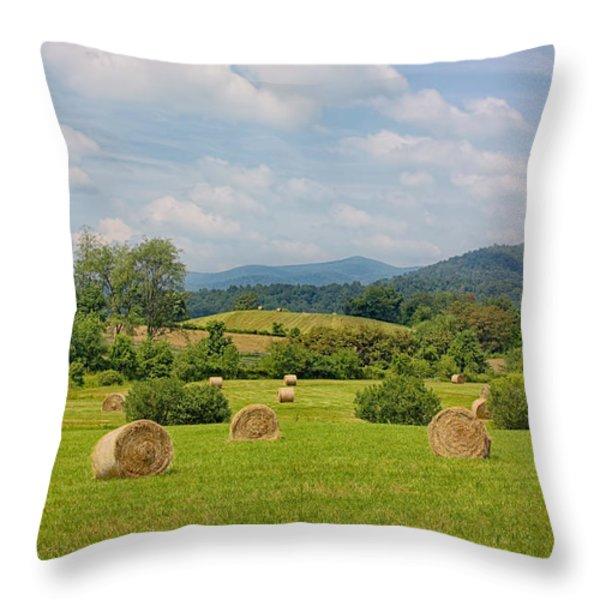 Hay Bales in Farm Field Throw Pillow by Kim Hojnacki