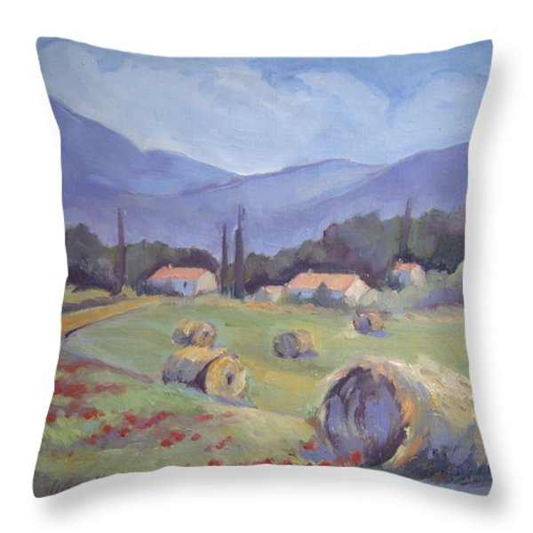 Haybales and Poppies of Provence Throw Pillow by Linda  Wissler