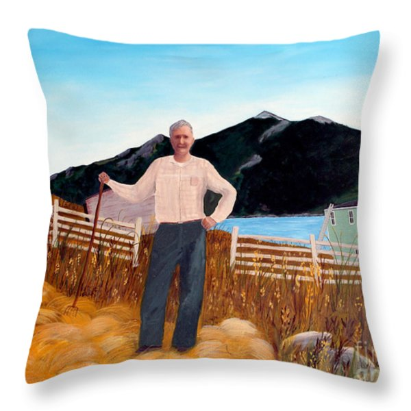Haymaker With Pitchfork Throw Pillow by Barbara Griffin