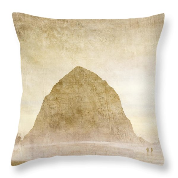 Haystack Rock Throw Pillow by Carol Leigh