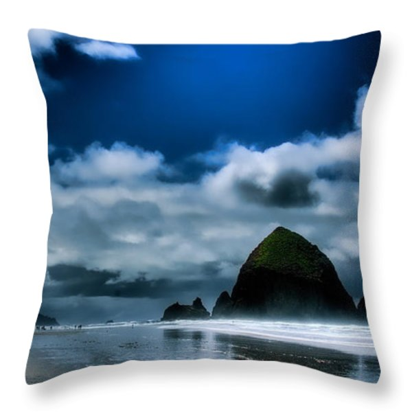 Haystack Rock IIi Throw Pillow by David Patterson
