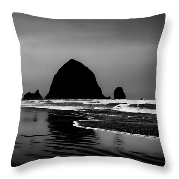 Haystack Rock on Cannon Beach Throw Pillow by David Patterson