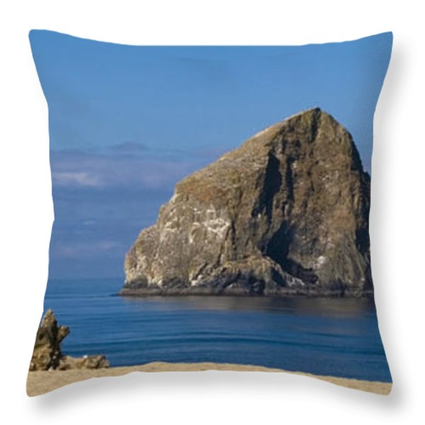 Haystack Rock - Pacific City Oregon Coast Throw Pillow by Brian Harig