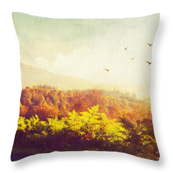 Hazy Morning in Trossachs National Park. Scotland Throw Pillow by Jenny Rainbow