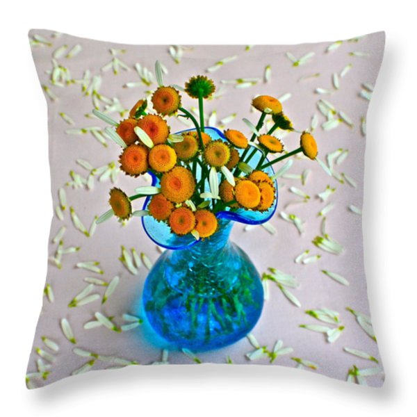He Loves Me Bouquet Throw Pillow by Frozen in Time Fine Art Photography