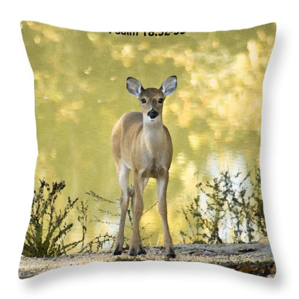 He Makes My Feet Like The Feet of Deer Throw Pillow by Kathy Clark
