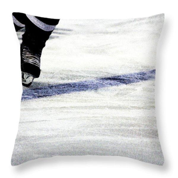 He Skates Throw Pillow by Karol  Livote