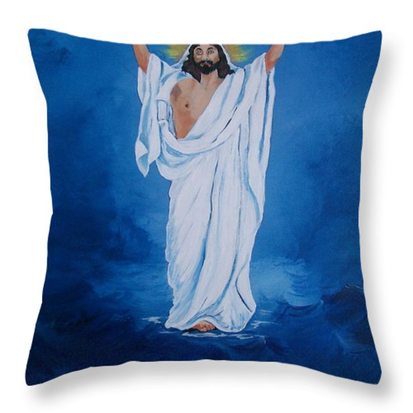 He Walked on Water Throw Pillow by Sharon Duguay
