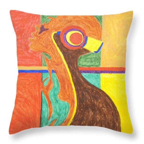 Headphones Nude  Throw Pillow by Stormm Bradshaw