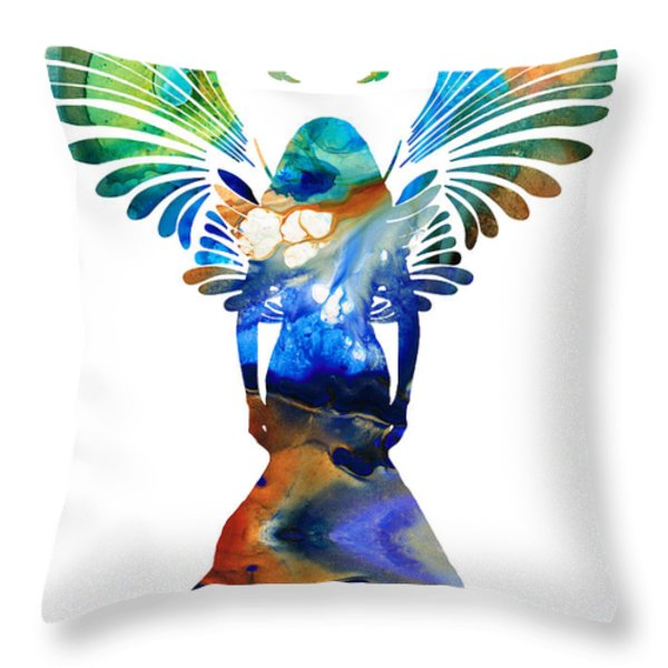 Healing Angel - Spiritual Art Painting Throw Pillow by Sharon Cummings