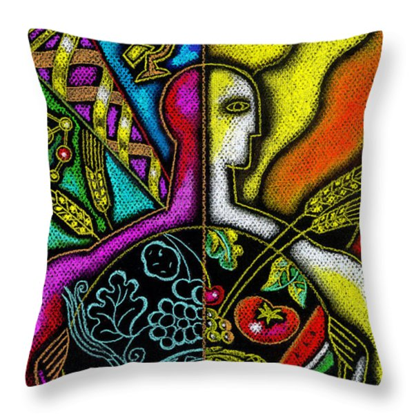 Health Food Throw Pillow by Leon Zernitsky