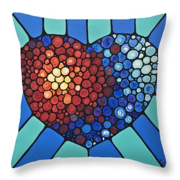 Heart Art - Love Conquers All 2  Throw Pillow by Sharon Cummings