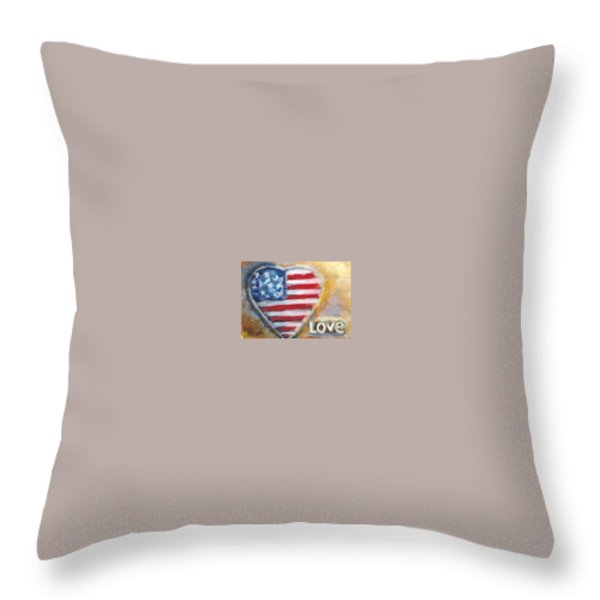 Heart Love USA Throw Pillow by Bernadette Krupa