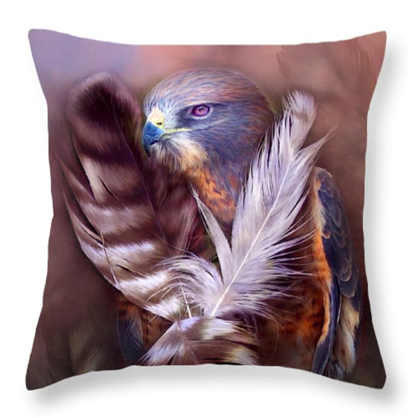 Heart Of A Hawk Throw Pillow by Carol Cavalaris