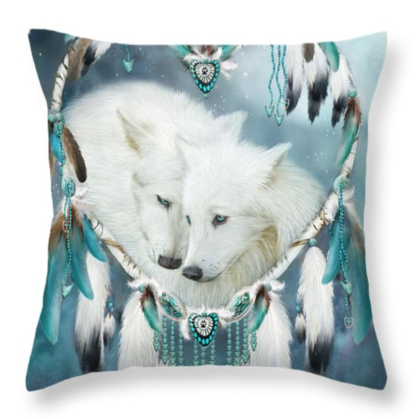 Heart Of A Wolf Throw Pillow by Carol Cavalaris