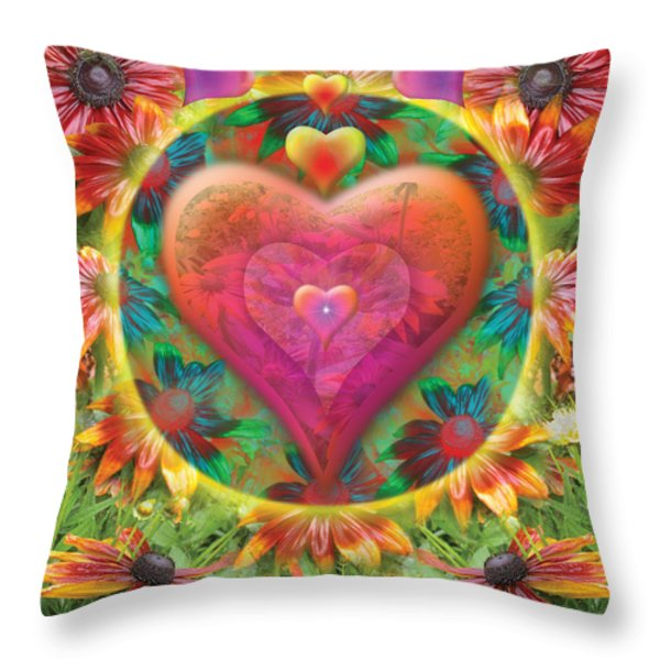 Heart Of Flowers Throw Pillow by Alixandra Mullins
