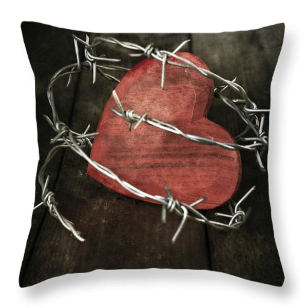 Heart With Barbed Wire Throw Pillow by Joana Kruse