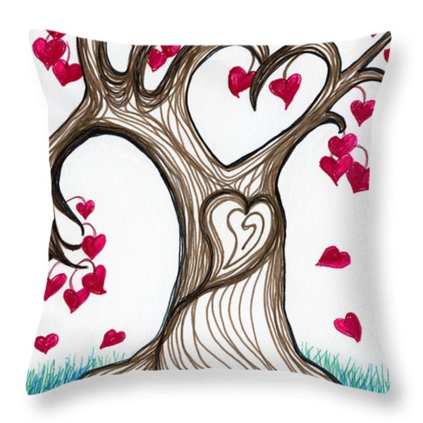 Heartful Tree 4 You Throw Pillow by Minnie Lippiatt
