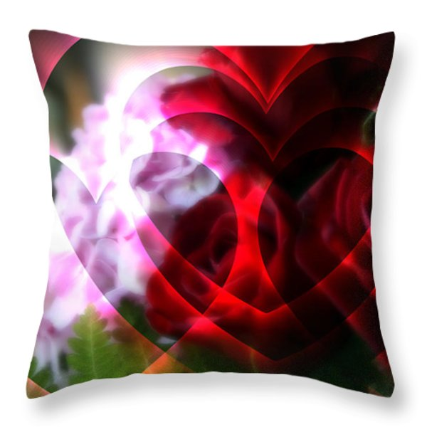Hearts A Fire Throw Pillow by Kay Novy