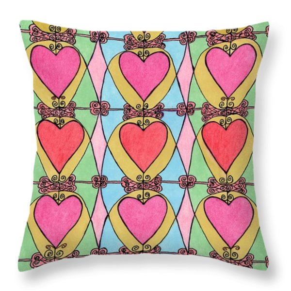 Hearts a'la Stained Glass Throw Pillow by Mag Pringle Gire