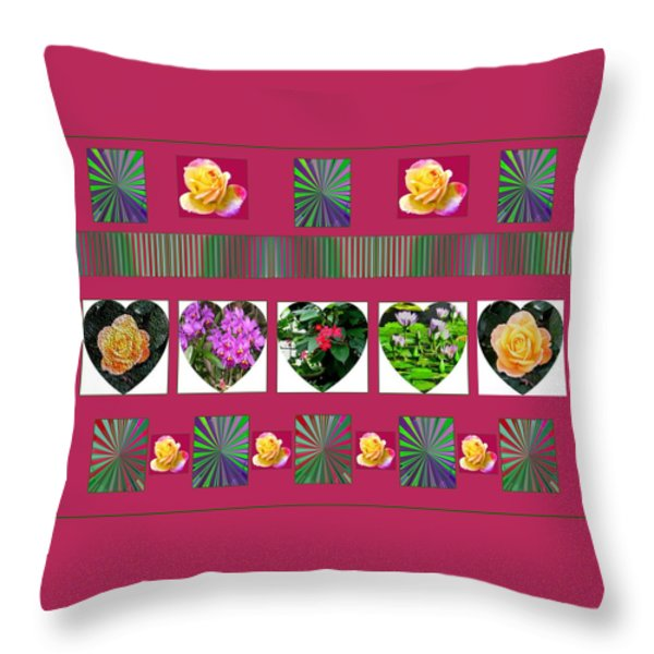 Hearts And Flowers 2 Throw Pillow by Marian Bell