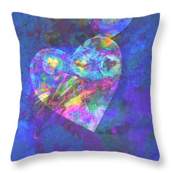 Hearts on Blue Throw Pillow by Ann Powell