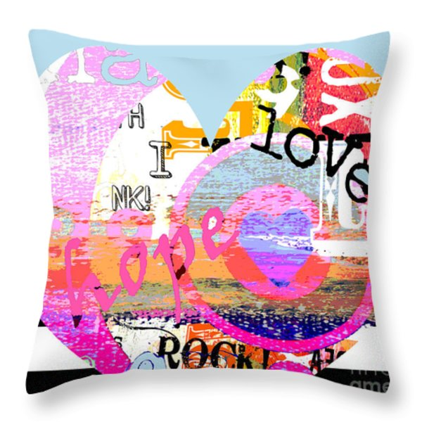 Hearts Rock Throw Pillow by Anahi DeCanio