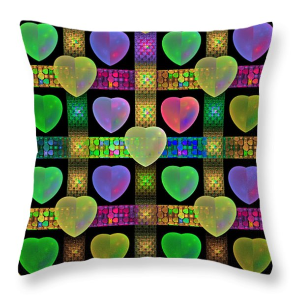 Hearts Throw Pillow by Sandy Keeton