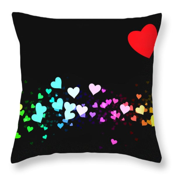 Hearts Trail Throw Pillow by Daniel Hagerman