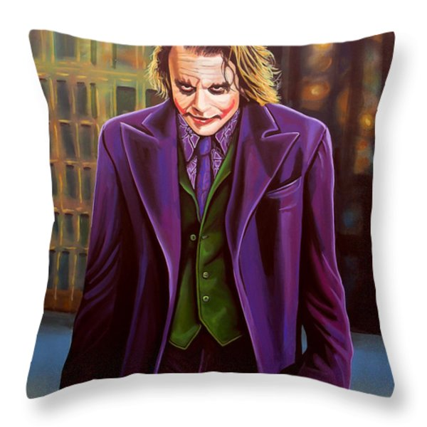 Heath Ledger As The Joker Throw Pillow by Paul  Meijering