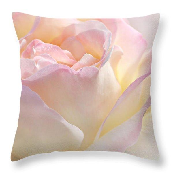 Heaven's Pink Rose Flower Throw Pillow by Jennie Marie Schell