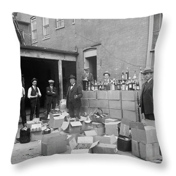 HEAVILY ARMED FEDS SEIZE LIQUOR CACHE 1922 Throw Pillow by Daniel Hagerman