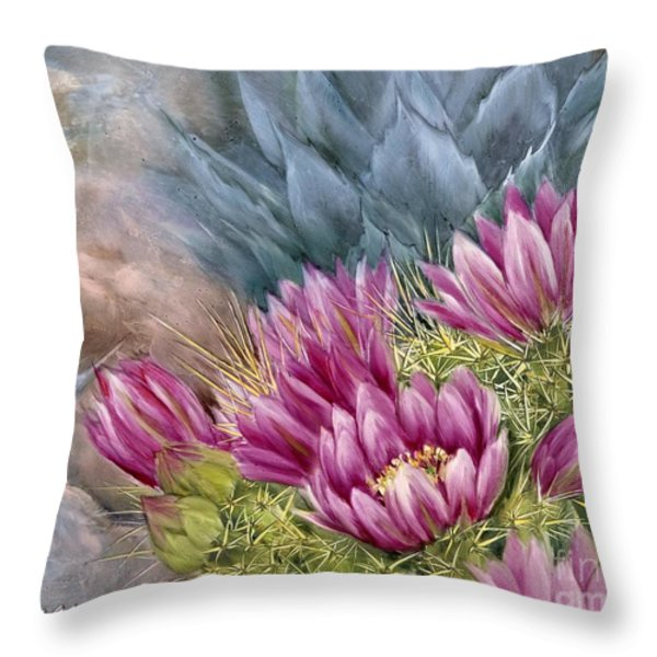 Hedgehog in Bloom Throw Pillow by Summer Celeste
