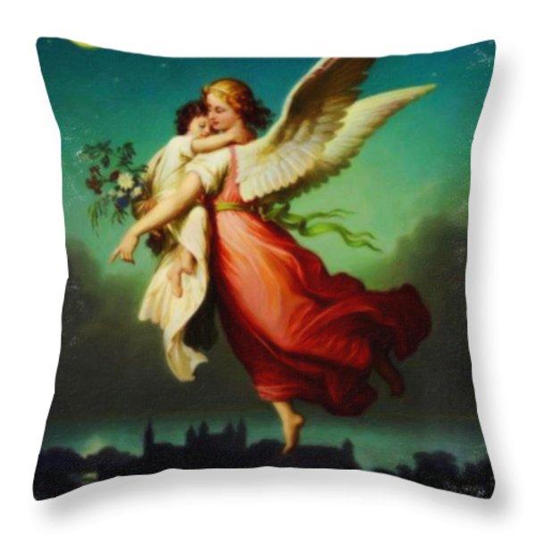 Heiliger Schutzengel  Guardian Angel 10 Pastel Throw Pillow by MotionAge Designs
