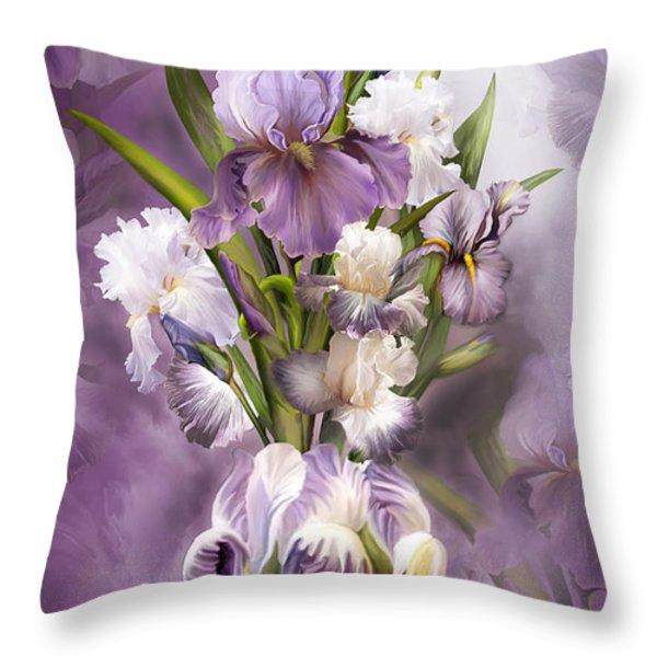 Heirloom Iris In Iris Vase Throw Pillow by Carol Cavalaris