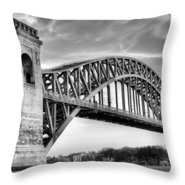 Hell Gate Bw Throw Pillow by JC Findley