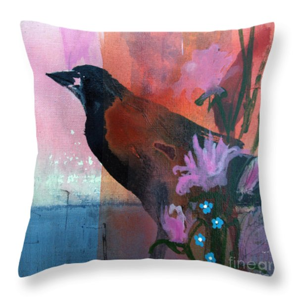 Hello Crow Throw Pillow by Robin Maria  Pedrero