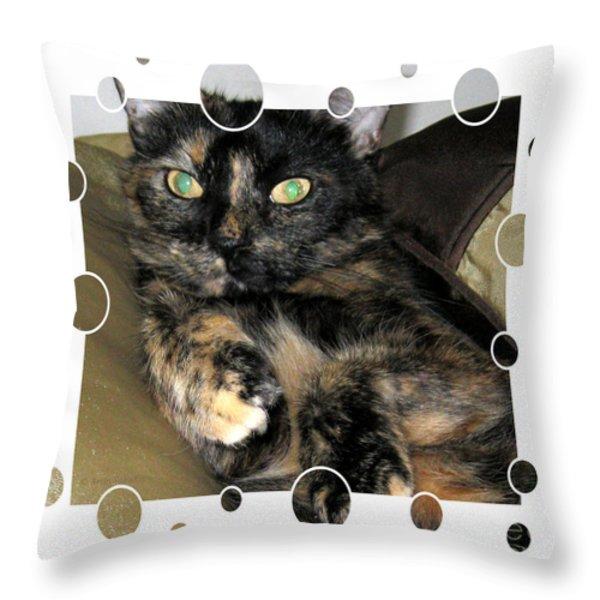 Hello Kitty Card Throw Pillow by Oksana Semenchenko