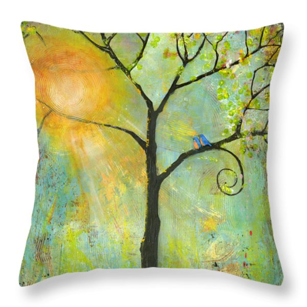 Hello Sunshine Tree Birds Sun Art Print Throw Pillow by Blenda Studio