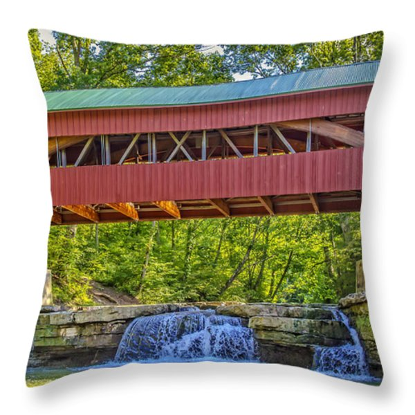 Helmick Mill or Island Run Covered Bridge  Throw Pillow by Jack R Perry