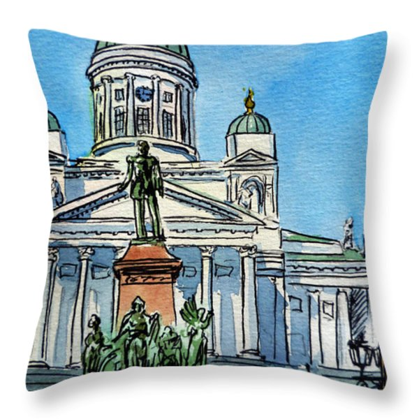 Helsinki Finland Throw Pillow by Irina Sztukowski