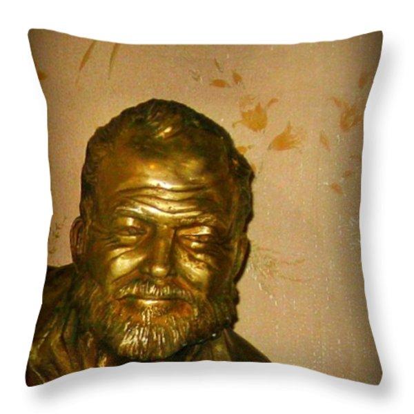 Hemmingway in Havana Throw Pillow by John Malone