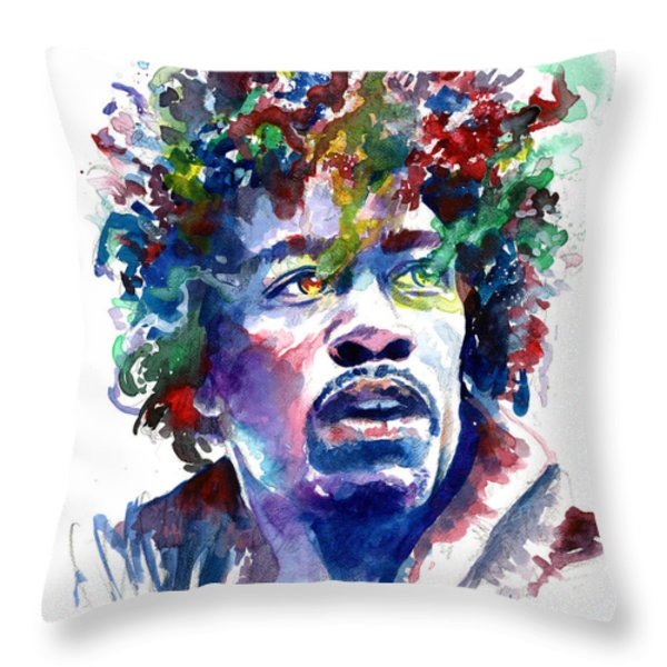 Hendrixhead Throw Pillow by Ken Meyer jr