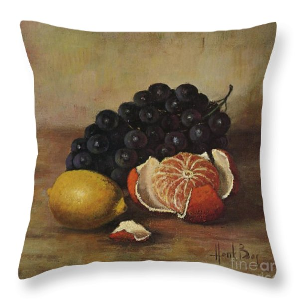 Henk Bos Fruits Still Life Grapes Lemon And Orange Throw Pillow by Pierpont Bay Archives